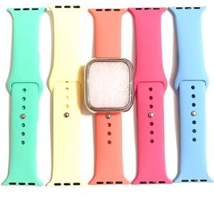 5 44mm 42mm 40mm 38mm band yellow pink blue + case